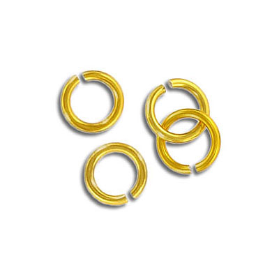 Jumpring aluminium, 7mm outside diameter, 1mm thickness gold plate