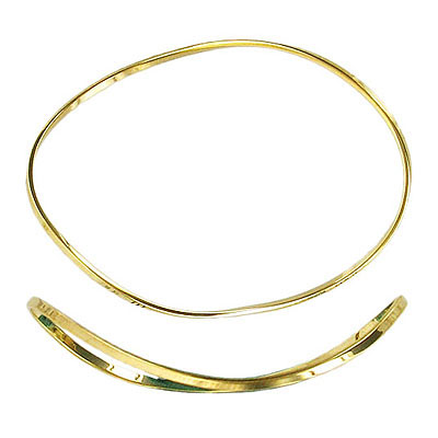Large oval wave link gold plate