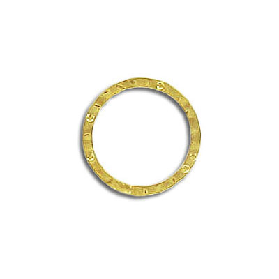 Jumpring hammered 14mm outside diameter soldered (0.8 mm thickness) gold plate