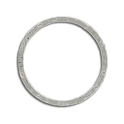 Jumpring hammered 24mm outside diameter soldered (0.8 mm thickness) nickel plate