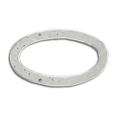 Hammered oval jumprings 30x17mm silver plated (pack of 6 pieces)