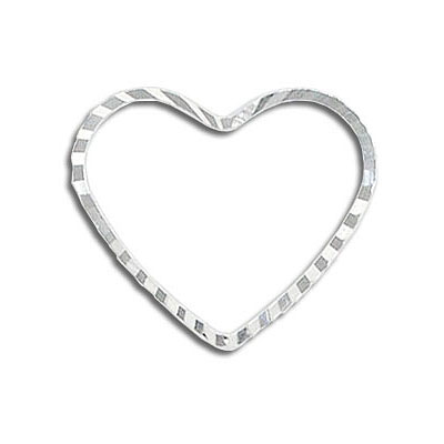 Heart-shaped jumpring silver plate (pack of 14 pieces)