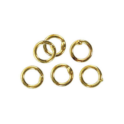 Jumpring 6mm outside diameter soldered (1 mm, 18 gauge thickness) gold plate