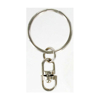 Key ring 30mm steel with swivel (5.6cm total length) nickel plate