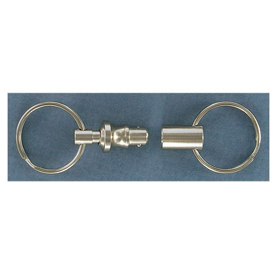 Key ring pull-a-part with two 25mm splitrings (7.4 cm total length) nickel plate