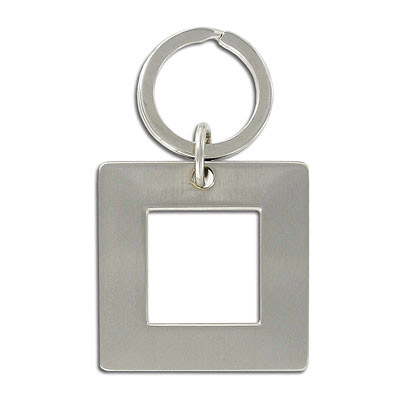 Key ring, 44mm hollow square, nickel finish