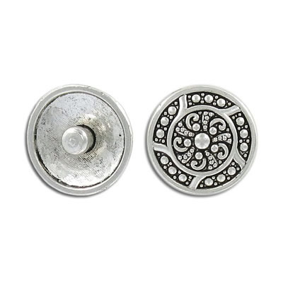 Snap clasp, 19mm, snap clasp, antique silver