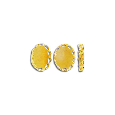 Cameo setting, 10x8mm, gold plate