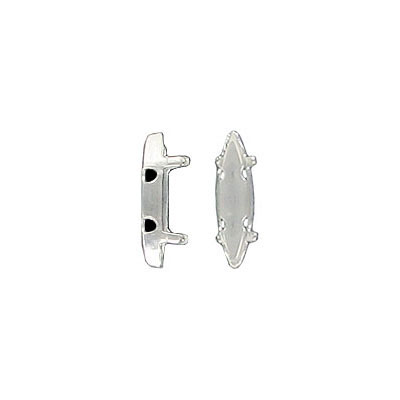 Setting for Swarovski Elements 4200, 11x3mm, open back, 4-hole, silver plate