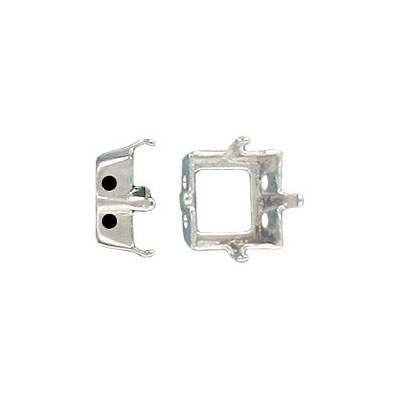 Setting, 8x8mm, 4-hole, silver plate