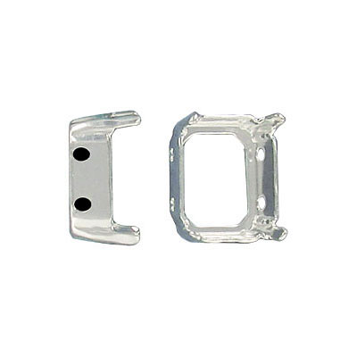 Setting for Swarovski Elements, octagon, 12x10mm, open back, 4-hole, silver plate