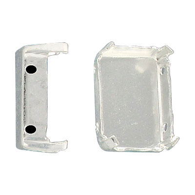 Setting for Swarovski elements 4570 and 4610, 18x13mm, octagon, 4-hole, silver plate