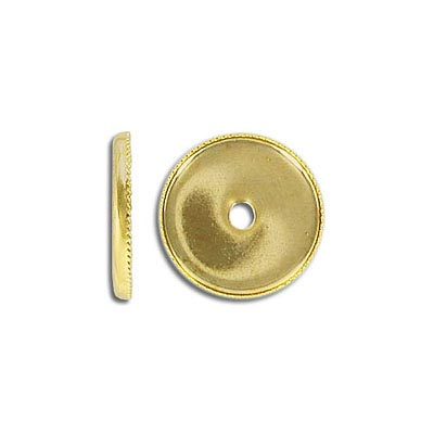 Bezel setting, 15mm, round, gold plate