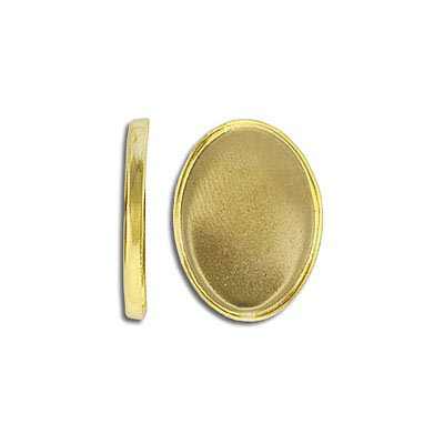 Bezel setting, 18x13mm, oval, gold plate