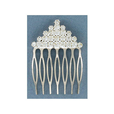 Rhinestone comb crystal, silver plate