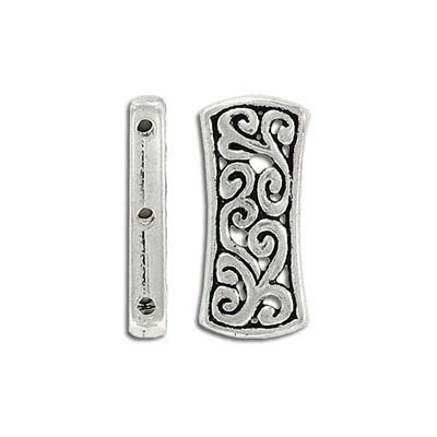 Spacer bar, 3 row, 26x12mm, antique silver