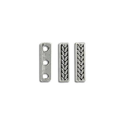 Spacer bar, 3 row, 15x4mm, antique silver