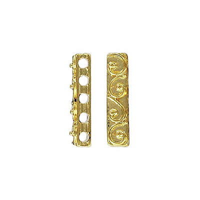 Spacer bar, 19.75x4.45mm, 5 row, gold plate