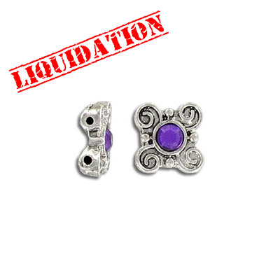 Spacer bar, 2 row, flower, with amethyst stone, antique silver