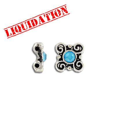 Spacer bar, 10mm, 2 row, square, flower, with aqua stone, antique silver