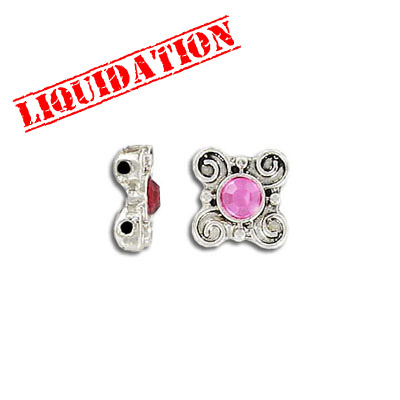 Spacer bar, 2 row, flower, with rose stone, antique silver