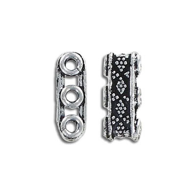 Spacer bar, 7x17mm, 3 row, antique silver