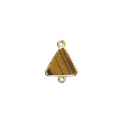 Gemstone connector, 15mm, triangle, gold tiger's eye, with gold setting and bail
