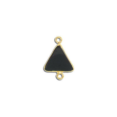 Gemstone connector, 15mm, triangle, black obsidian, with gold setting and bail