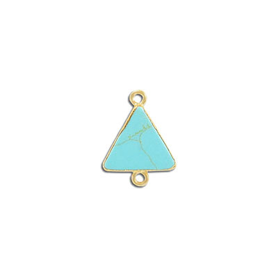 Gemstone connector, 15mm, triangle, turquoise neolite, with gold setting and bail