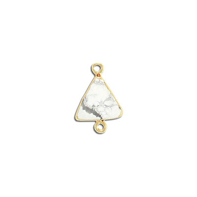 Gemstone connector, 15mm, white howlite, with gold setting and bail
