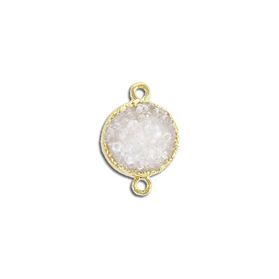 Gemstone connector, 16mm, round, white druzy, gold plate frame and two loops