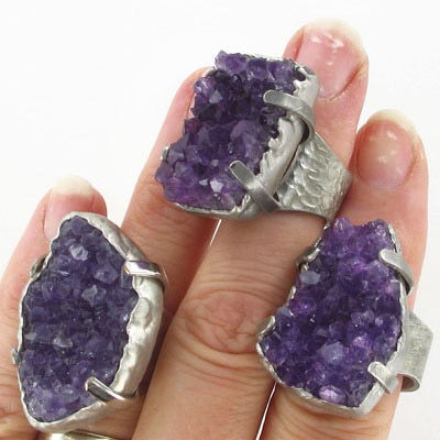 Finger ring expandable, amethyst, assorted shapes