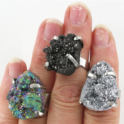 Finger ring expandable, druzy, assorted shapes and colors