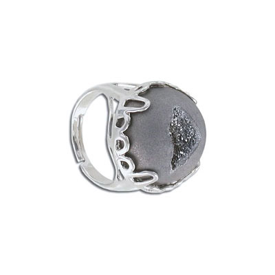 Semi-precious finger ring expandable, grey druzy, size 8.5-13