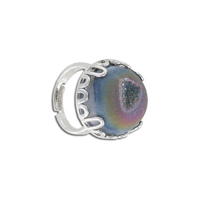 Semi-precious finger ring expandable, rainbow druzy, size 8.5-13