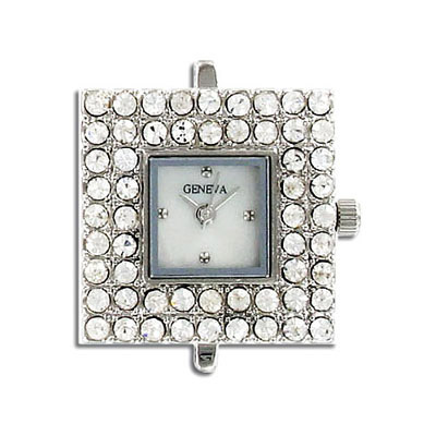 Watchface square w/at stones crystal