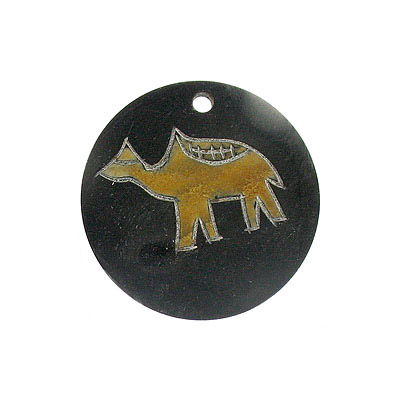 Horn pendant carved flat large 50mm camel