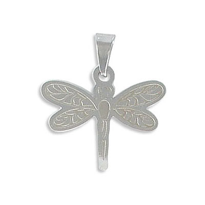 Metal pendant, dragonfly, 20mm, stainless steel