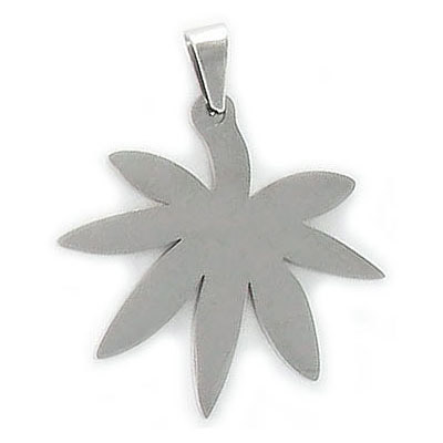 Metal pendant, marijuana leaf, 25mm, stainless steel