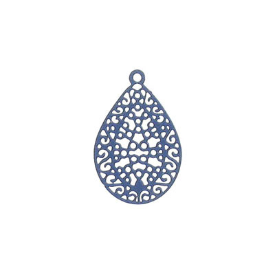 Metal pendant, 24x16mm, drop, brass core, laser cut, dark navy