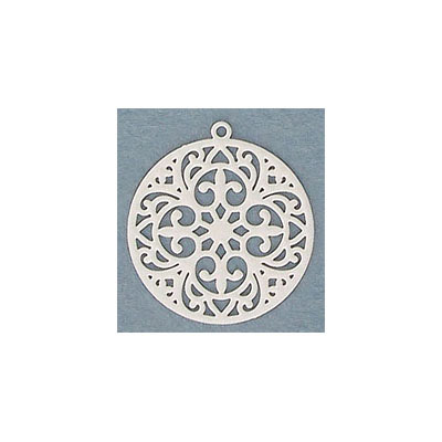Metal pendant, 20mm, drop, brass core, laser cut, light grey
