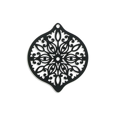 Metal pendants, 40x45mm, oval, laser cut filigree, brass core, black color