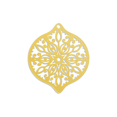 Metal pendants, 40x45mm, oval, laser cut filigree, brass core, gold electro plate