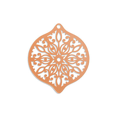 Metal pendants, 40x45mm, oval, laser cut filigree, brass core, rose gold electro plate