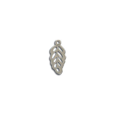 Metal pendant, 13x6mm, feather, stainless steel, grade 304L