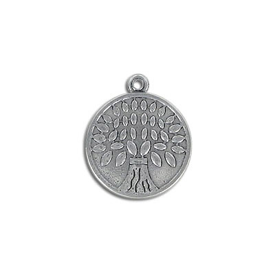 Metal pendant, 18mm, Tree of Life, stainless steel, 304l