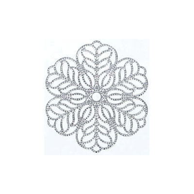 Metal pendant, 30mm, 0.55mm thick, filigree flower, stainless steel