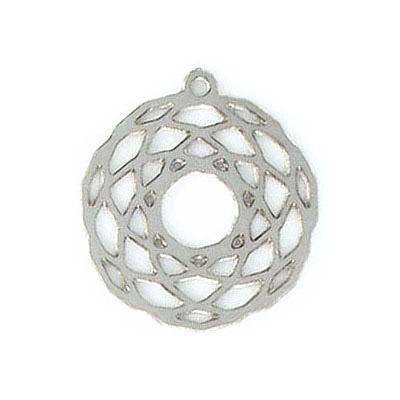 Metal pendant, 20mm, round, laser filigree, stainless steel