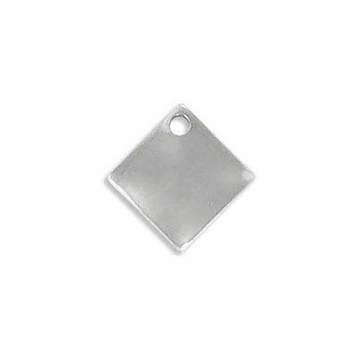 Metal pendant, 14mm, diamond shape, stainless steel