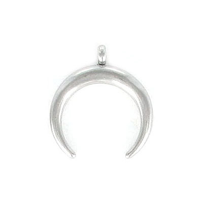 Metal pendant, 18X16mm, double horn, stainless steel, grade 304l